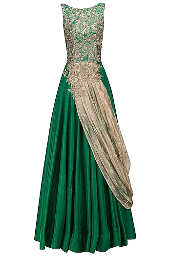 Green and Gold Floral Embroidered Gown with Drape Dupatta by Architha Narayanam
