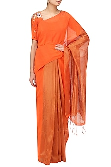 Orange Matka Silk Saree with Blouse by Architha Narayanam