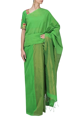 Green Matka Silk Saree with Blouse by Architha Narayanam