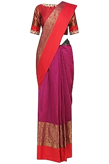 Magenta Matka Silk Saree with Red Blouse by Architha Narayanam
