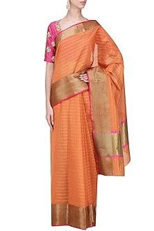 Orange Matka Silk Saree with Pink Blouse by Architha Narayanam