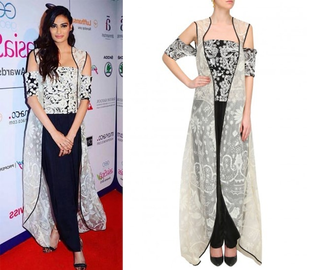 Black Floral Embroidered Off Shoulder Top With Dhoti Pants by Jade by Monica and Karishma