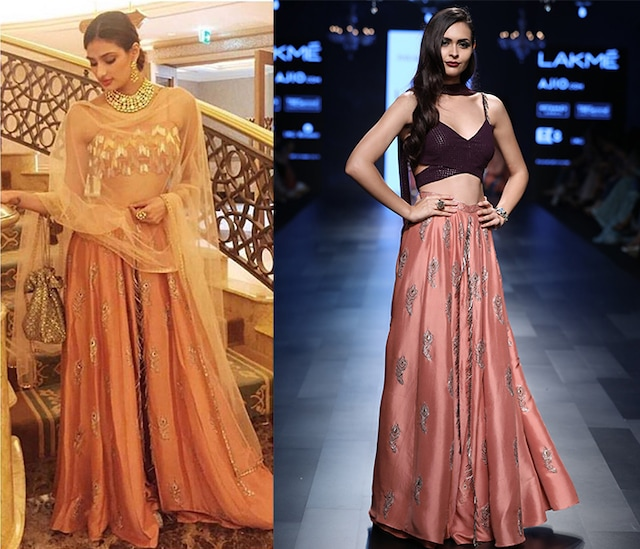 Purple Bustier and Coral Peacock Feather Motif Lehenga Palazzos Set by Payal Singhal