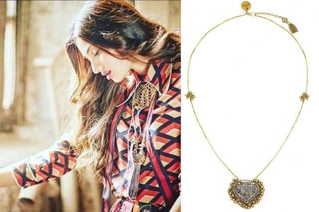 Gold plated paan shaped silver finish motif metal ball necklace by Ritika Sachdeva