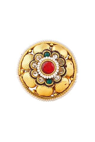 Gold Finish Meenakari Ring by Auraa Trends
