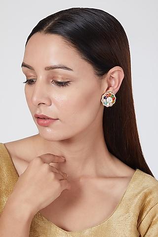 Gold Plated Navratan Kundan Earrings by Auraa Trends