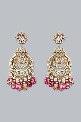 Gold Plated Kundan Chandbali Earrings by Auraa Trends