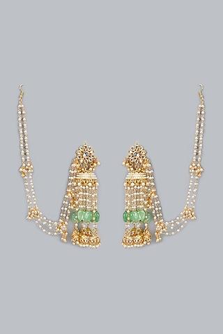 Gold Plated Onyx Kundan Jhumka Earrings by Auraa Trends