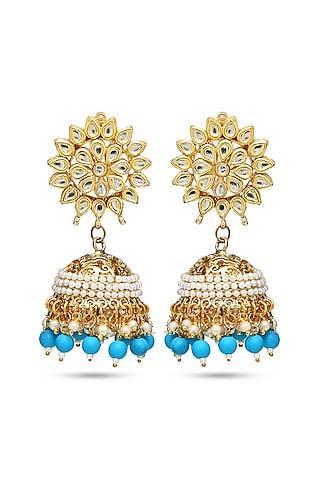 Gold Finish Chandbali Earrings by Auraa Trends