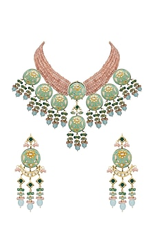 Gold Finish Orange Stone Necklace Set With Maang Tikka by Auraa Trends-JEWELLERY ON DISCOUNT
