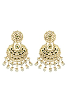 Gold Finish Kundan Chandbali Earrings by Auraa Trends-JEWELLERY ON DISCOUNT