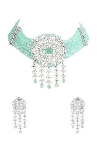 White Finish Necklace Set by Auraa Trends