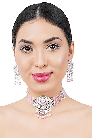 White Finish Diamante Necklace Set by Auraa Trends