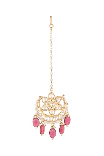 Gold Finish Kundan & Semi-Precious Red Stones Maang Tikka by Auraa Trends
