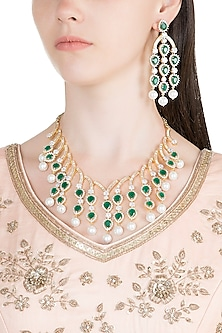 White & Gold Finish Diamante & Semi-Precious Necklace Set by Auraa Trends