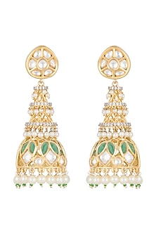 Gold Finish Kundan & Pearls Jhumka Earrings by Auraa Trends