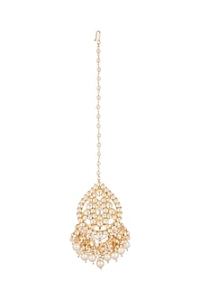 Gold Finish Kundan & Pearls Drops Maangtika by Auraa Trends