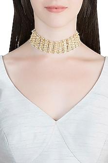 Gold Finish Kundan Choker Necklace by Auraa Trends