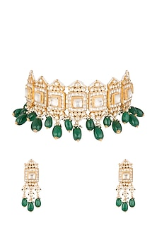 Gold Finish Kundan & Semi-Precious Green Stones Necklace Set by Auraa Trends