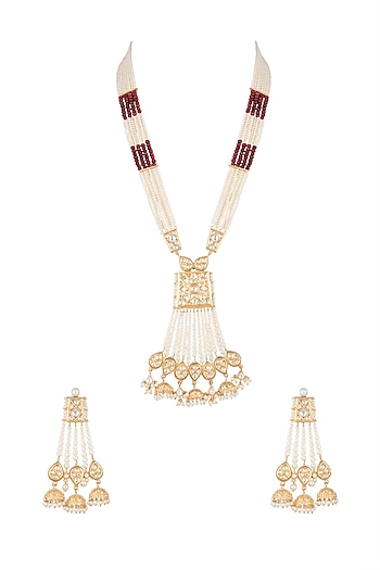 Gold Finish Kundan, Pearls & Semi-Precious Red Stones Necklace Set by Auraa Trends