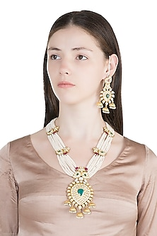 Gold Finish Semi-Precious Stones Necklace Set by Auraa Trends