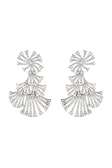 Gold Finish Diamond Earrings by Auraa Trends