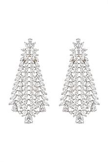 Gold Finish Faux Diamond Earrings by Auraa Trends