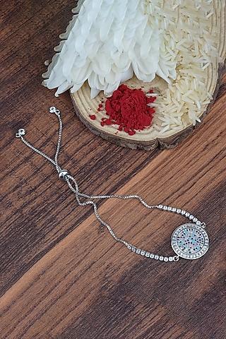 White Finish Rakhi Bracelet With Adjustable Clasp by Auraa Trends