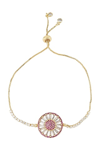 Gold Plated Adjustable Rakhi Bracelet by Auraa Trends