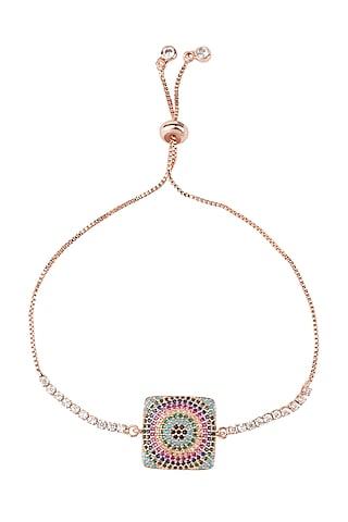 Rose Gold Finish Ajustable Clasp Rakhi Bracelet by Auraa Trends