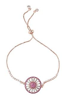 Rose Gold Finish Rakhi Bracelet With Ajustable Clasp by Auraa Trends-SEND RAKHIS TO UK