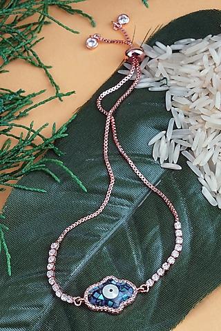 Rose Gold Finish Adjustable Rakhi Bracelet by Auraa Trends
