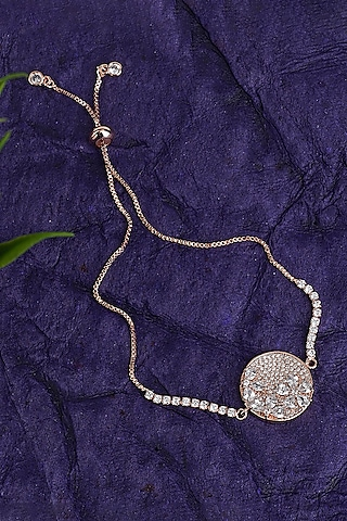Rose Gold Finish Adjustable Clasp Rakhi Bracelet by Auraa Trends