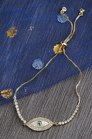 Gold Plated Rakhi Bracelet With Adjustable Clasp by Auraa Trends