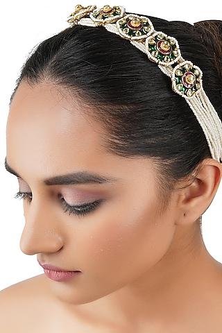 Gold Plated Kundan Polki Headband by Auraa Trends