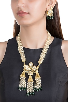 Gold Finish Semi-Precious Green Onyx Stone Necklace Set by Auraa Trends
