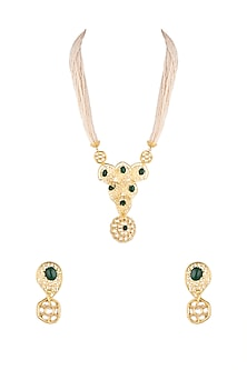 Gold Finish Kundan & Semi-Precious Green Onyx Stone Necklace Set by Auraa Trends