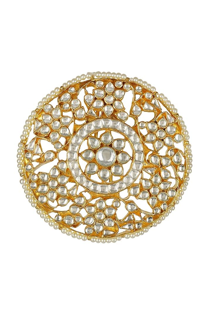 Gold Plated Kundan Polki Juda Accessory by Auraa Trends