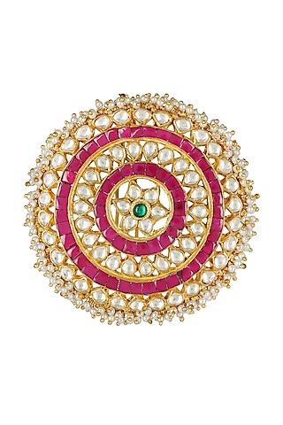 Gold Plated Juda Accessory With Kundan Polki by Auraa Trends