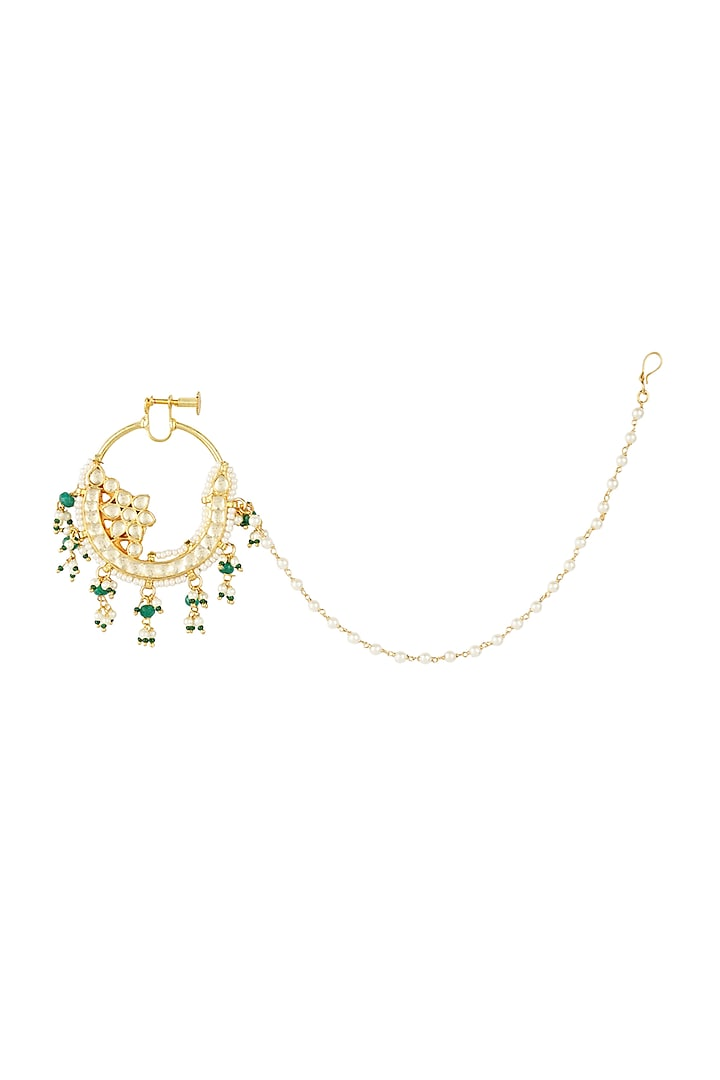 Gold Plated Kundan Polki Nath by Auraa Trends