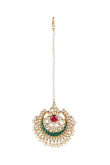 Gold Plated Onyx Stone Maang Tikka by Auraa Trends