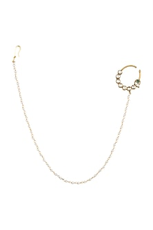 White Finish Nose Ring With Kundan by Auraa Trends