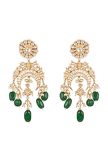 Gold Plated Green Onyx Pasa Earrings by Auraa Trends
