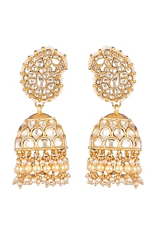 Gold Plated Pearl Jhumka Earrings by Auraa Trends