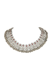 Oxidised Silver Finish Choker Necklace by Auraa Trends