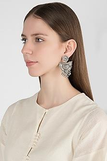 Oxidised Silver Finish Dangler Lotus Drop Earrings by Auraa Trends