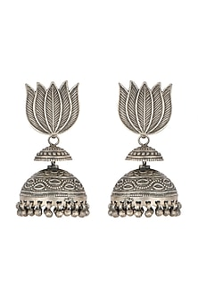 Oxidised Silver Finish Lotus Earrings by Auraa Trends
