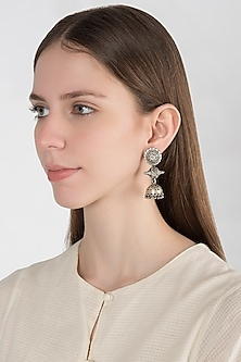 Oxidised Silver Finish Long Drop Earrings by Auraa Trends