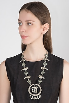 Oxidised Silver Finish Bird Necklace by Auraa Trends