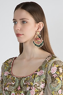 Gold Finish Chandbali Jhumka Drop Earrings by Auraa Trends
